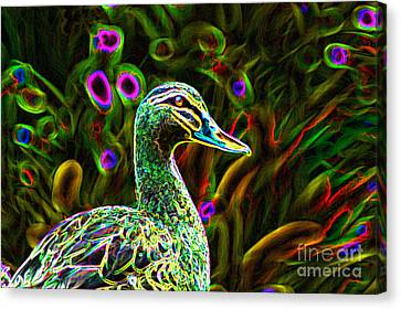 Neon Duck Canvas Print by Naomi Burgess