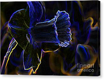 Neon Flowers Canvas Print by Charles Dobbs