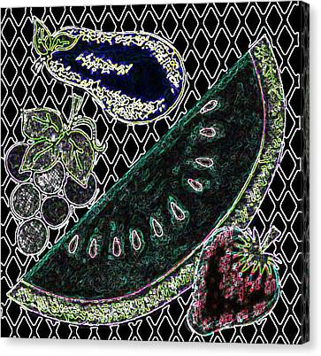 Neon Fruit Canvas Print by Bennett Berkowitz