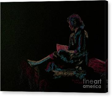 Neon Girl With Book Canvas Print by Diane Phelps