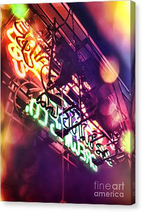 Window Bars Canvas Print - Neon by HD Connelly