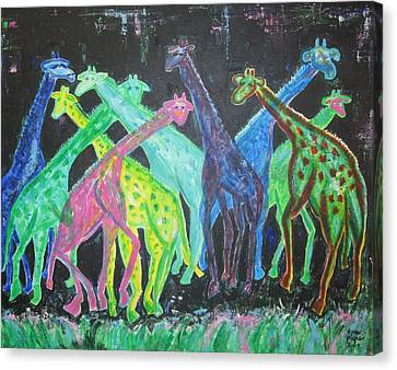 Canvas Print featuring the painting Neon Longnecks by Diane Pape