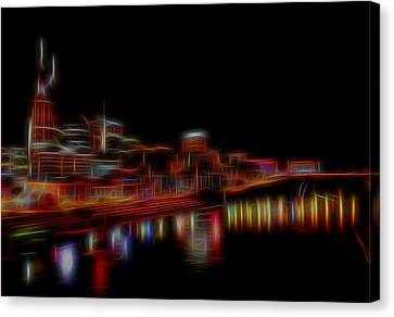 Neon Nashville Skyline At Night Canvas Print by Dan Sproul