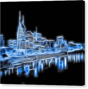 Neon Nashville Skyline Canvas Print by Dan Sproul