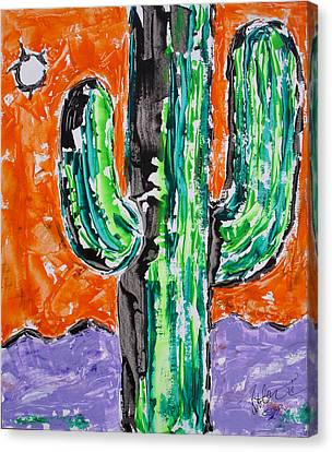 Neon Saguaro Cactus Limited Edition Poster Christmas Card Canvas Print by Robert R Splashy Art Abstract Paintings