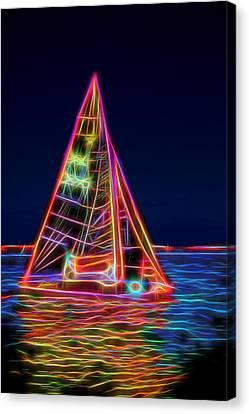 Neon Sailboat Canvas Print by David Smith