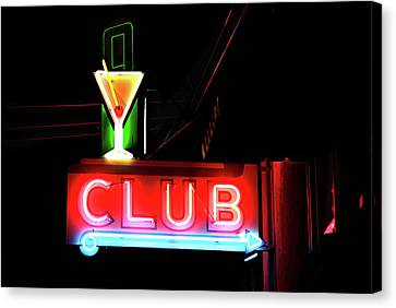 Neon Sign Club Canvas Print by Melany Sarafis