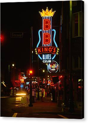 Neon Sign Lit Up At Night, B. B. Kings Canvas Print by Panoramic Images
