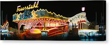 Neon Sign Lit Up At Night, Oktoberfest Canvas Print by Panoramic Images