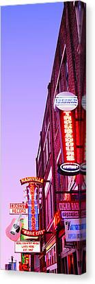 Neon Signs At Dusk, Nashville Canvas Print