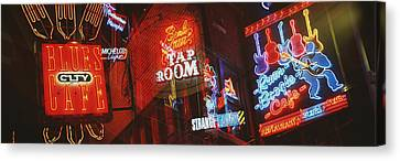 Neon Signs, Beale Street, Memphis Canvas Print by Panoramic Images