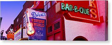 Downtown Nashville Canvas Print - Neon Signs On Building, Nashville by Panoramic Images