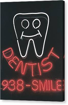 Neon Smile Canvas Print by Caitlyn  Grasso