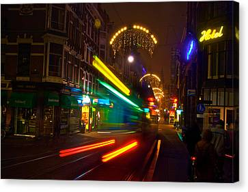 Canvas Print featuring the photograph Neon Tram Leidestraat by Jonah  Anderson