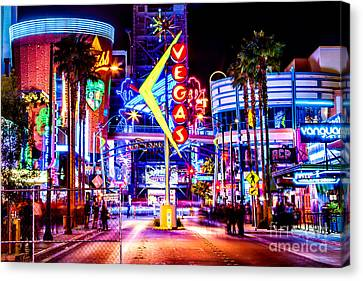 Long Street Canvas Print - Neon Vegas by Az Jackson