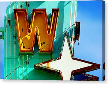 Canvas Print featuring the photograph Neon W - The West Theater by Daniel Woodrum