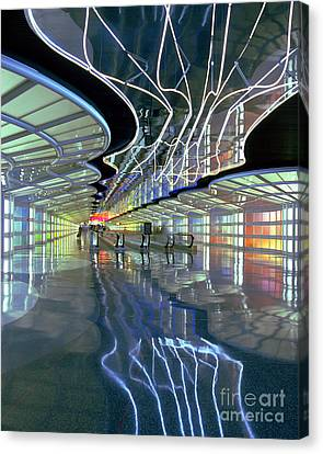 Neon Walkway At Ohare Canvas Print by Martin Konopacki