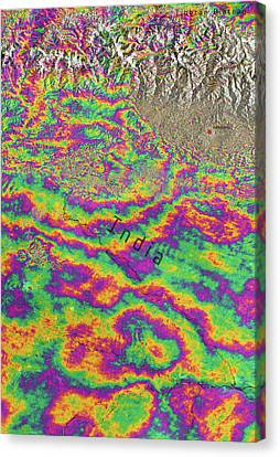 Nepal Earthquake Deformation Canvas Print by Copernicus/norut/ppo.labs/comet�esa Seom Insarap/european Space Agency