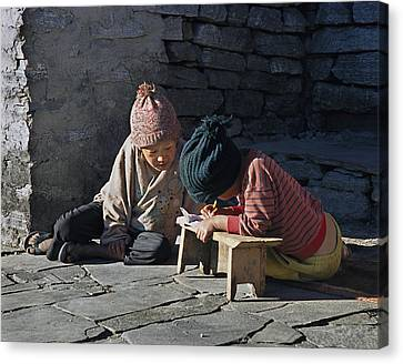 Nepalese Boys Drawing  Canvas Print
