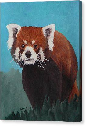 Canvas Print featuring the painting Nepalese Forest Dweller by Margaret Saheed