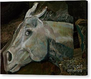 Nephrite's Horses On Stairs Canvas Print by Abelone Petersen