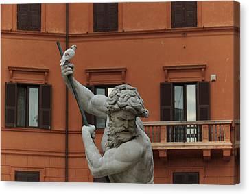 Neptune And The Dove - Fountain Of Neptune Piazza Navona Rome Italy Canvas Print by Georgia Mizuleva