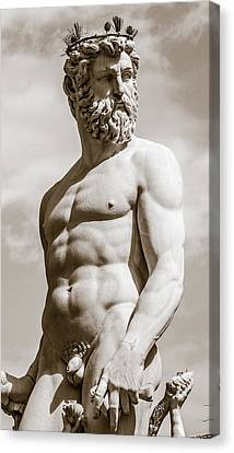 Neptune Statue In Florence Canvas Print by Gurgen Bakhshetsyan