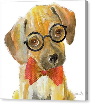Nerd Pup Square Canvas Print