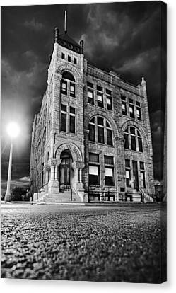 Storm Canvas Print - Ness County Bank by Thomas Zimmerman