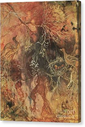 Canvas Print featuring the mixed media Nesting Dialogue  by Delona Seserman
