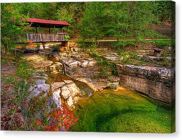 Covered Bridge In Spring - Ponca Arkansas Canvas Print by Gregory Ballos