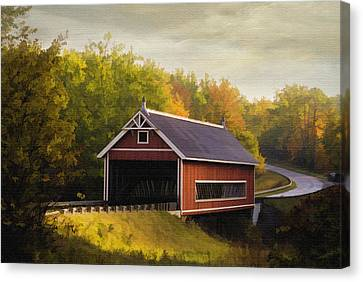 Netcher Road Covered Bridge Canvas Print by Mary Timman