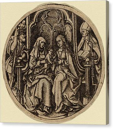 Saint Christopher Canvas Print - Netherlandish 15th Century, Madonna And Child With Saints by Quint Lox