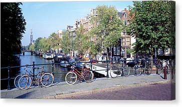 Netherlands, Amsterdam, Bicycles Canvas Print by Panoramic Images