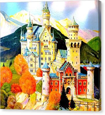 Neuschwanstein Castle In The Fall Canvas Print