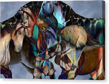 Abstract Equine Canvas Print - Neutral Tones by Betsy Knapp