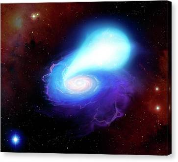 Neutron Star And White Dwarf Merging Canvas Print by Mark Garlick