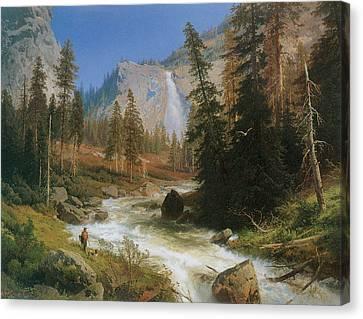 Nevada Fall Yosemite Canvas Print by Herman Herzog