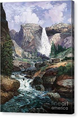 Nevada Falls Rendition By W Scott Fenton Canvas Print by W  Scott Fenton