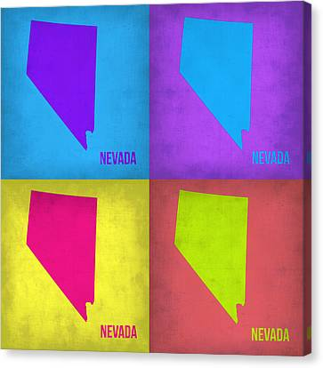 Nevada Pop Art Map 1 Canvas Print by Naxart Studio