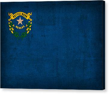 Nevada State Flag Art On Worn Canvas Canvas Print by Design Turnpike