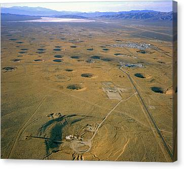 Nevada Test Site Atom Bomb Craters Canvas Print by Los Alamos National Laboratory