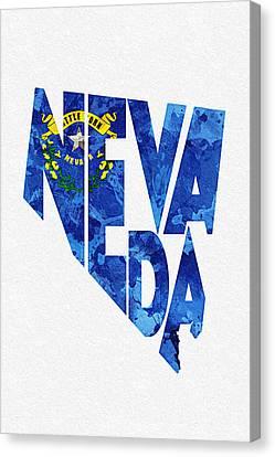 Nevada Typographic Map Flag Canvas Print by Ayse Deniz