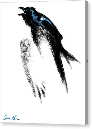 Canvas Print featuring the digital art Nevermore  - Raven by Aaron Blaise