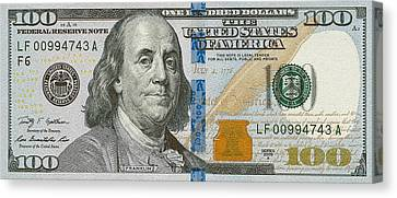 New 2009 Series One Hundred Us Dollar Bill Canvas Print