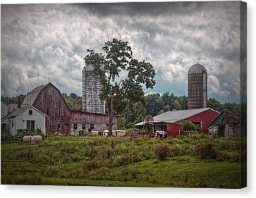 Country Scene Canvas Print - New And Old Barn by Linda Unger