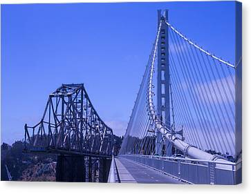 New And Old Bay Bridge Canvas Print