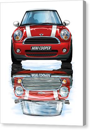New Bmw Mini Cooper Red Canvas Print by David Kyte