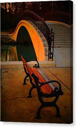 New Bridge And Bench Canvas Print