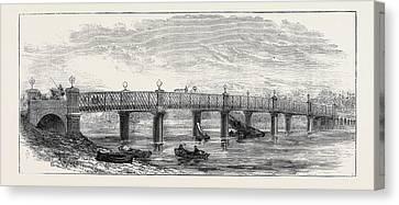 New Bridge Over The Thames At Wandsworth 1874 Canvas Print